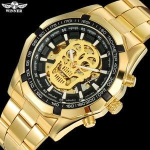 T-WINNER Men Mechanical Watches Winner Top Luxury Brand Stainless Steel Skeleton Watches Self Wind Mechanical Male Clock