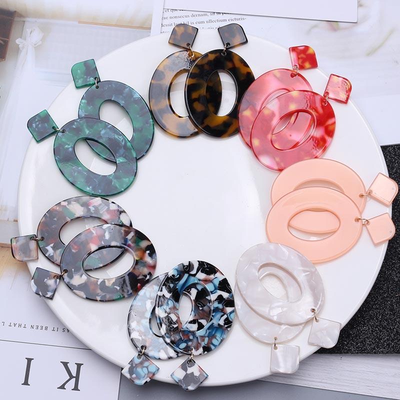 Pendientes acrílicos 2019 pendientes grandes Statement para mujeres resina Oval cuadrado Pendientes largos con colgantes geométricos joyería Bohemia EB301