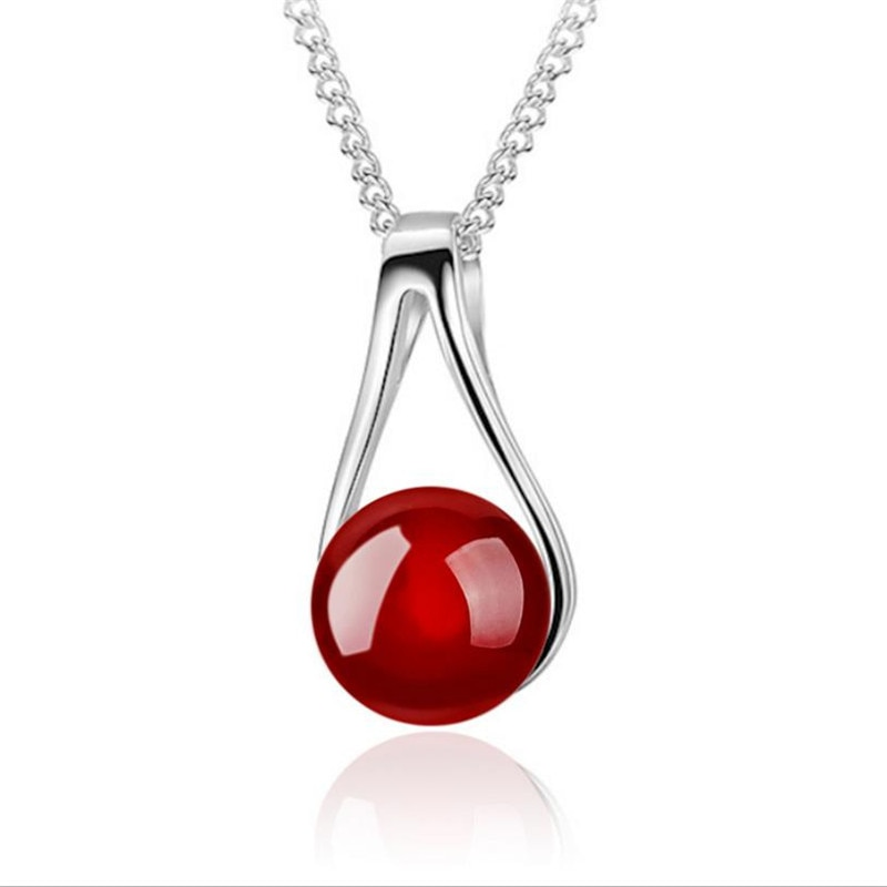 TJP Cute Red Pearl Female Pendants Necklace Jewelry Top Quality 925 Sterling Silver Choker Neckalce For Girl Lady Party Bijou