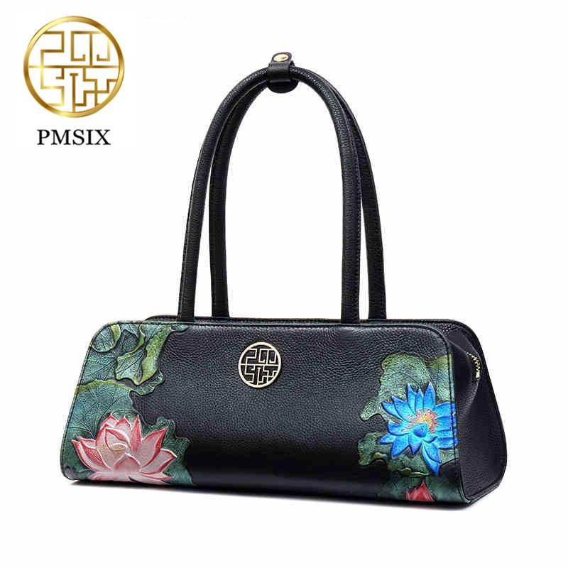 حقائب النساء Pmsix مع أحزمة الكتف طويلة ريالر حقائب يد جلدية حقيقية تنقش حقائب كتف السيدات الفاخرة حقائب سوداء