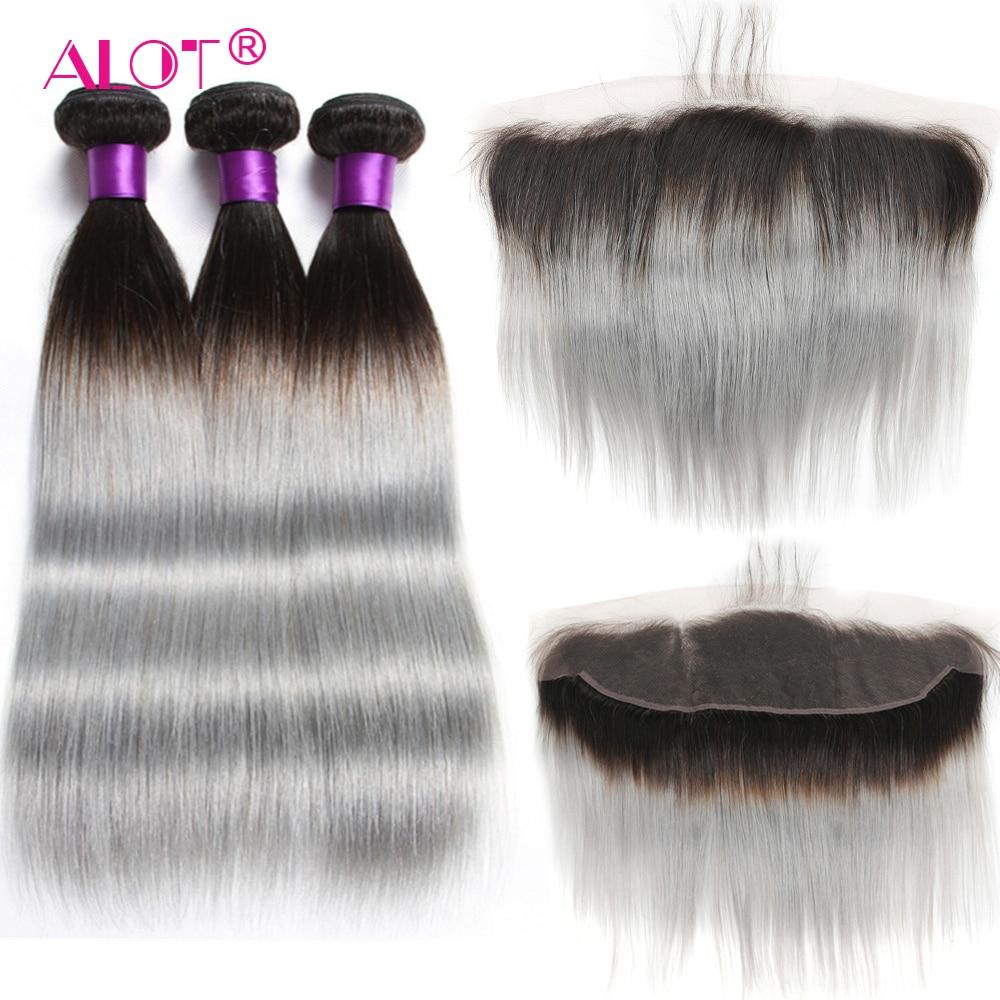 ALOT 1B-وصلات شعر برازيلية طبيعية ، شعر ناعم بجودة ريمي ، لون رمادي/أحمر/أزرق ، مع غطاء دانتيل