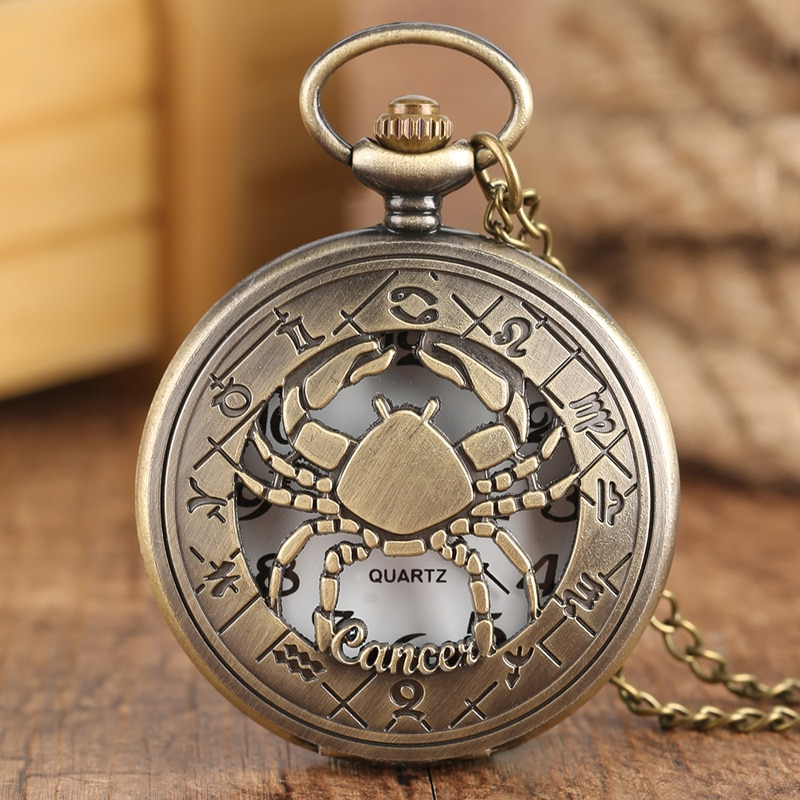 12 Constellation Astrology Zodiac Retro Pocket Watch Bronze Necklace Pendant Mens Women Hollow Flip Cover Quartz Christmas Gifts