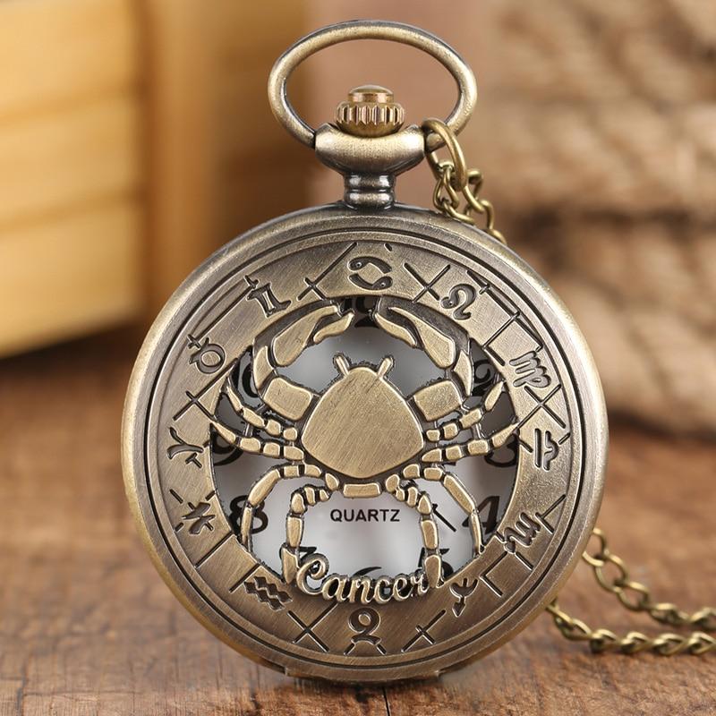 12 Созвездие, астрология, Зодиак, ретро карманные часы, бронзовое ожерелье, подвеска, мужские и женские Полые флип-крышки, кварцевые рождественские подарки