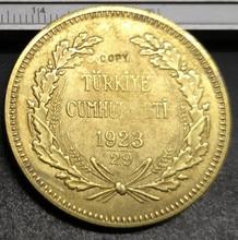 1923/29 turquie pièce de copie plaquée or Kurus   22K, 35mm, 500