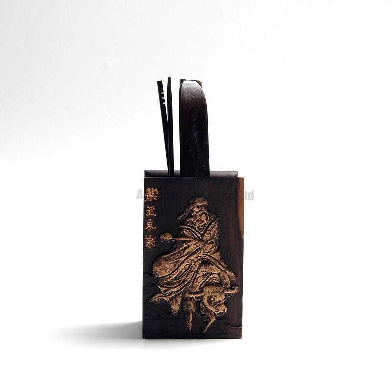 الفاخرة النحاس نحت الفنون الشاي أدوات ، Valuablb الأبنوس الخشب الشاي العلبة/المشبك/ملعقة/القراد/إبرة ، 5 قطعة الصينية Gongfu التي الشاي حفل