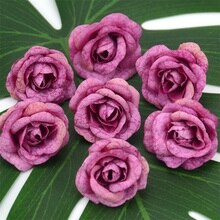 Roses artificielles en soie, 4cm, 50/lot, fausses fleurs, pour décoration de mariage, pour la maison, pour une couronne florale, artisanat, pas cher