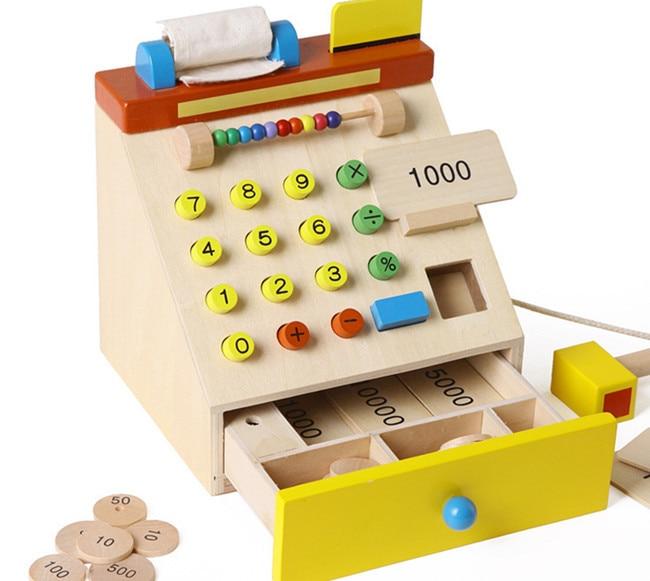 New hölzernes spielzeug Simulation cash register Baby spielzeug Freies verschiffen