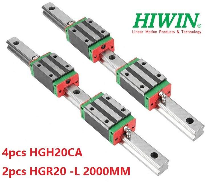 2 قطعة السكك الحديدية Hiwin الأصلي HGR20 - 2000 مللي متر + 4 قطعة HGH20CA كتل ضيقة ل نك