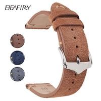 BEAFIRY Genuine Leather Watch Band 18mm 19mm 20mm 22mm Dark brown Dark blue Light brown Grey Suede Leather Watch straps