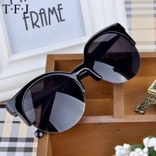 TFJ lunettes de soleil pour femmes   Lunettes de haute qualité rétro de styliste Super rondes, œil de chat à mi-bords, lunettes de soleil pour femmes, 2015