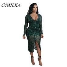 OMILKA 2018 Spring Women Long Sleeve V Neck Bodycon Sequin Midi Dress Sexy Green Nude Black Glitter Shiny Club Party Dress