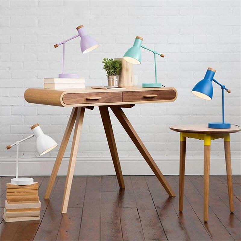 Nueva lámpara de mesa Led E14 Flexible de madera de aluminio de 6 colores europea con protección ocular moderna para el estudio de la sala de estar y el dormitorio 1605