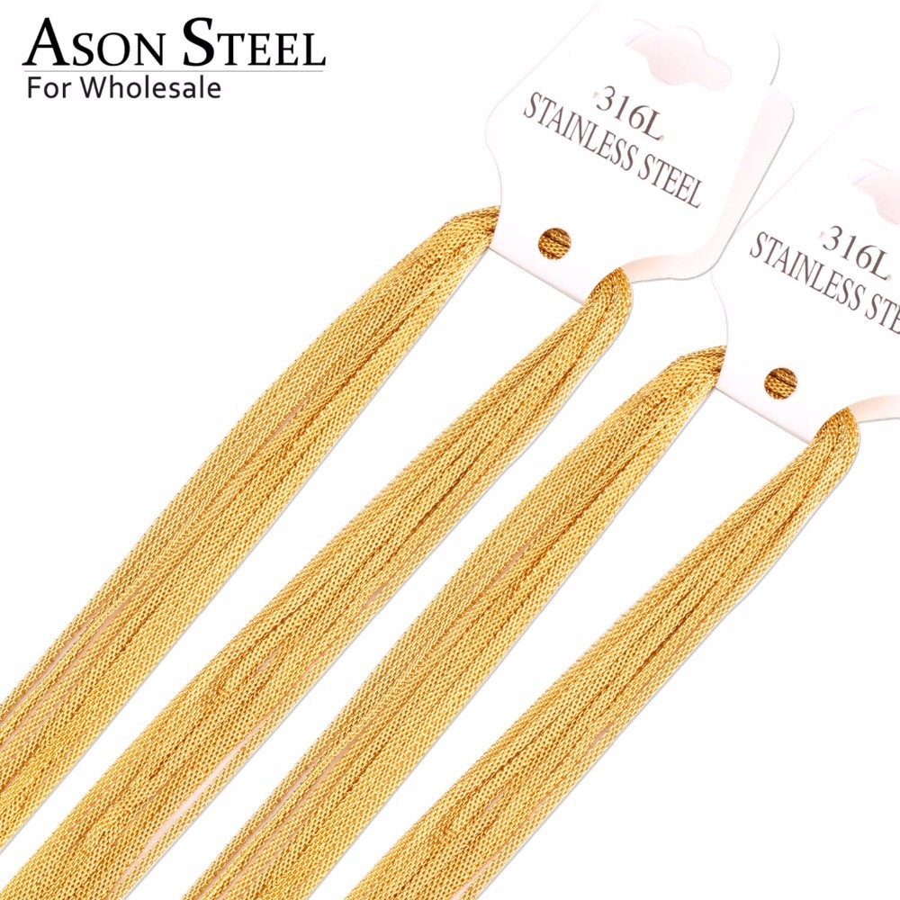 Женские и мужские золотые цепи ASON, 10 шт./лот, из нержавеющей стали