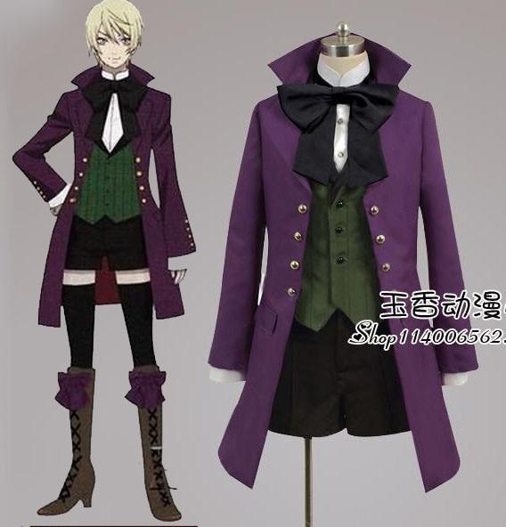 Black Butler Alois Trancy disfraz para Cosplay púrpura abrigo + camisa + chaleco + bowknot + Pantalones traje completo formal de fiesta traje de halloween