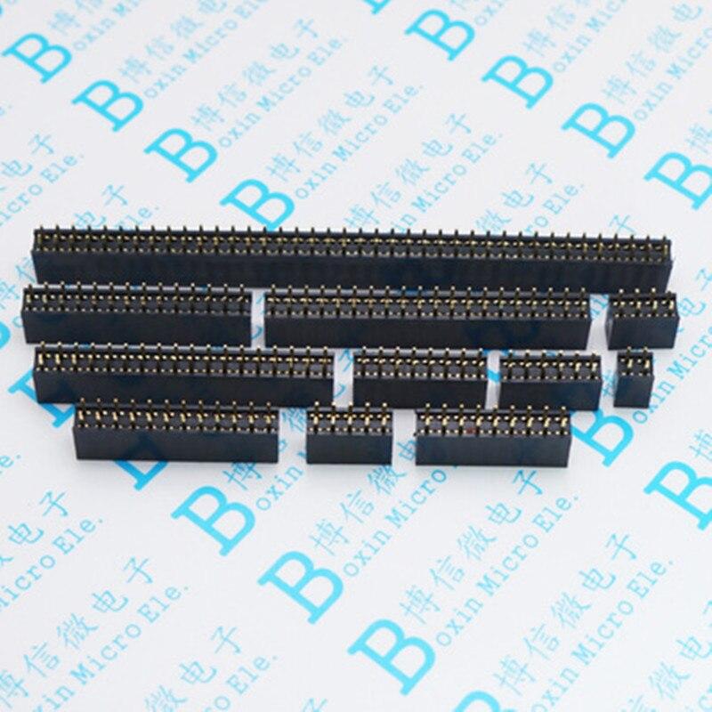 50 Uds 2,54 madre de fila doble/zócalo hembra recto de doble fila 2*2 P/3/4/5/6/7/8/9/10/11/12-40 P 2,54 DIP de paso