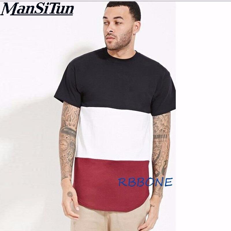 Camiseta a rayas de retales Triple Color para hombre nueva llegada de si Tun, camiseta de verano de manga corta con cremallera lateral dorada, camiseta para hombre