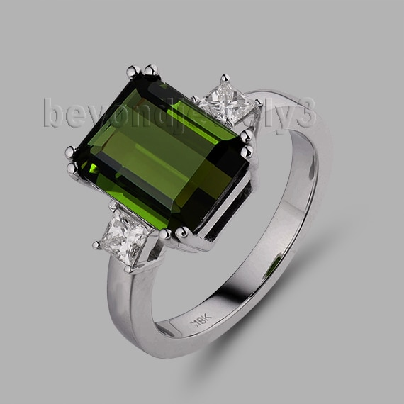 Anillos de boda hawaiana corte esmeralda 7x9mm turmalina verde 18Kt oro blanco diamante anillo SR00100
