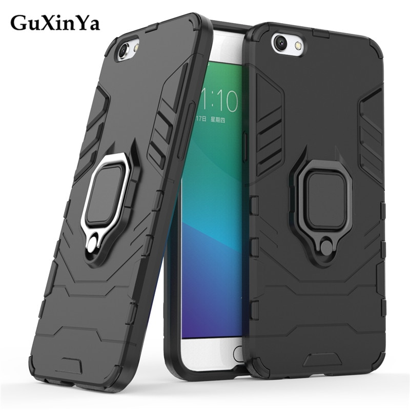 Guxinya Kickstand Cases sFor OPPO R9S Case Luxury Armor Magnetic Ring Cover For OPPO R9S Case For OP