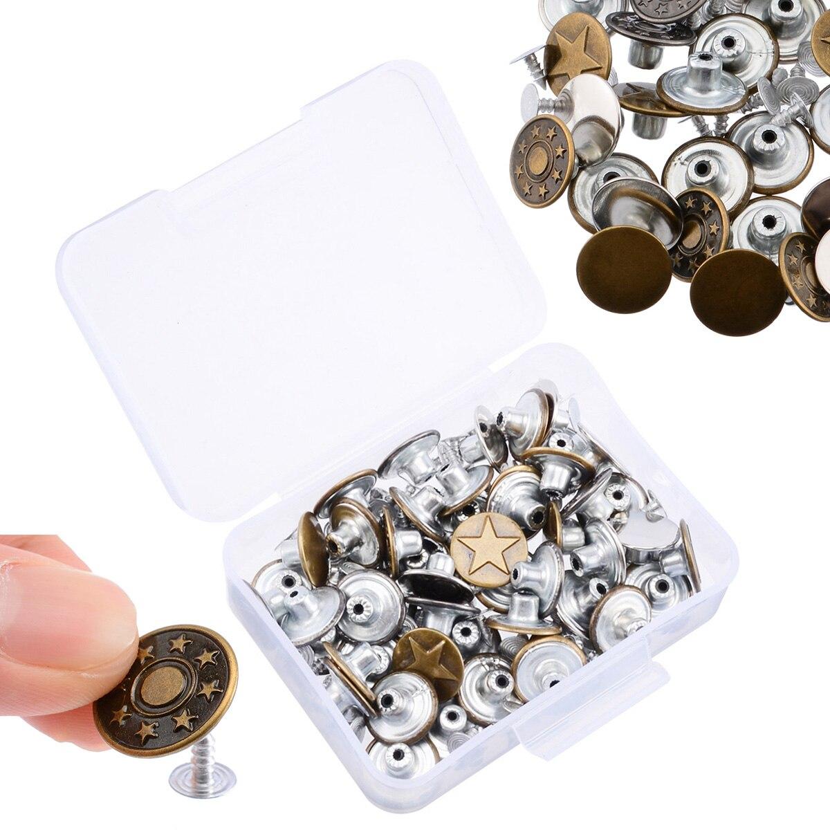 Ensemble de 5 boutons en jean   50 pièces/ensemble, boutons de veste en jean mélangés, bouton de Hosier en métal de 17mm, bouton de pression sans couture