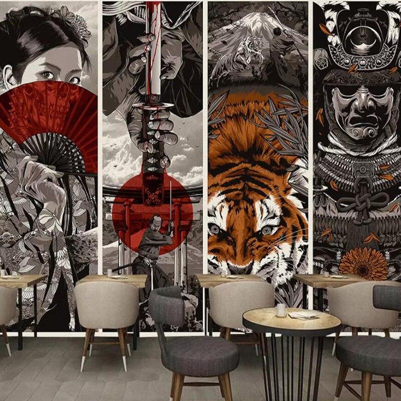 Обои в японском стиле самурайский укийо-е отель декоративные стены отель в японском стиле чайный домик на заказ 3D росписи