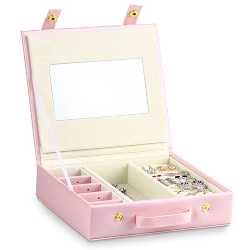 Süße Rosa Schmuck Box Tragbare Leder Ohrring Ring Schmuck Lagerung Reise Fall Y4QB