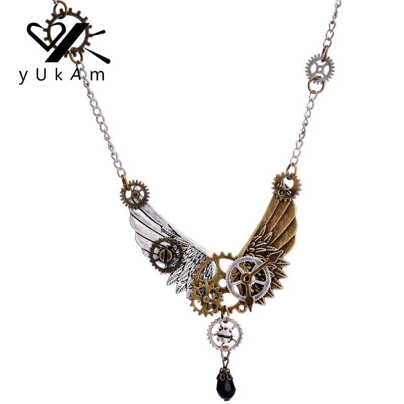 Joyería Vintage Steampunk YUKAM, colgante de alas de Ángel, collar con engranaje de Metal, gargantillas clásicas para mujeres, suspensión en el cuello
