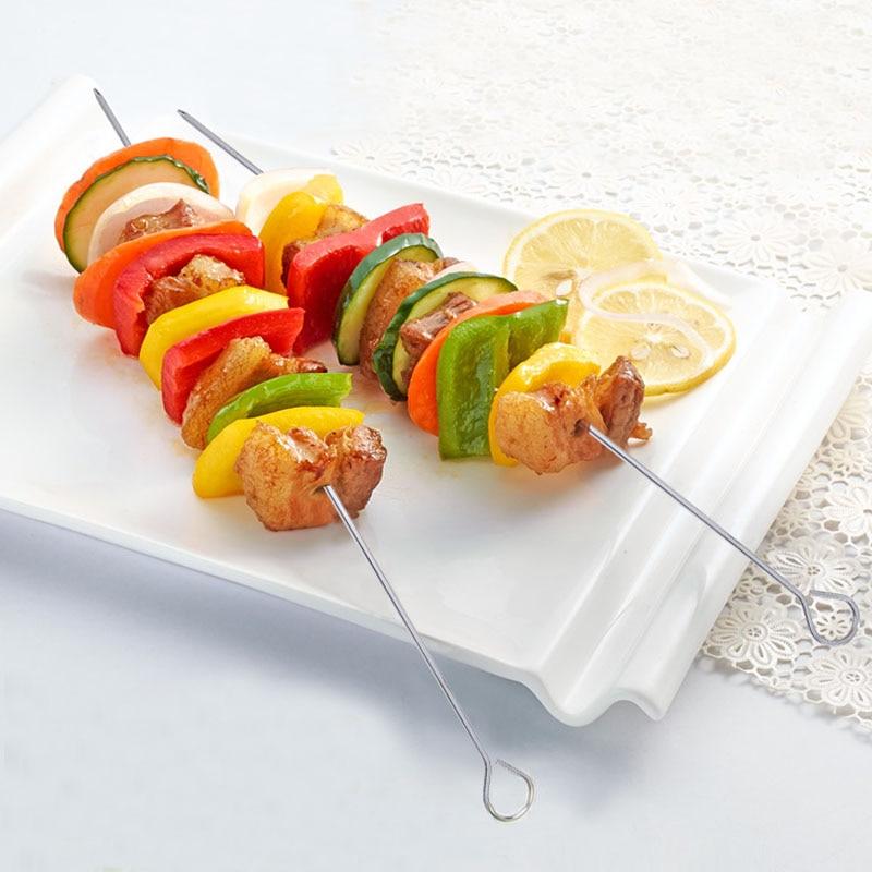 "Metal caliente barbacoa de hierro brochetas de Kebab varilla para Kebob Parrilla de barbacoa pinchos w/anillo-anillo Punta Mango pegatina de barbacoa 10 Uds 13,7 ""(35cm)"