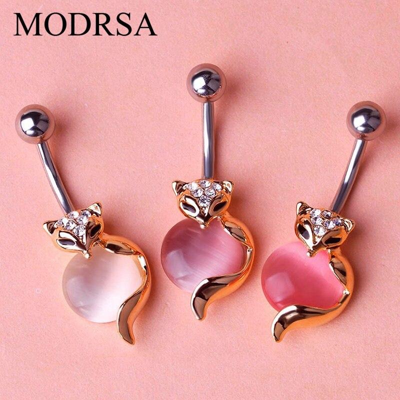 MODRSA 1 Peça Rosa Rhinestone Fox Dangle Piercing No Umbigo Ombligo Perfuração Nombril Umbigo Anéis Jóia Do Corpo de Aço Inoxidável