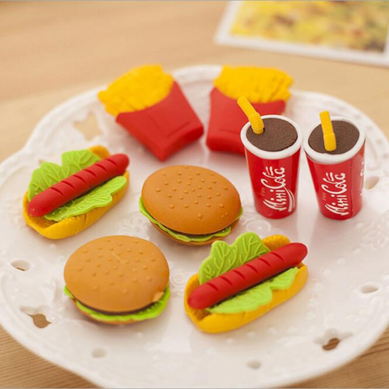 ¡Venta al por mayor! Lindo Kawaii pastel hamburguesa comida bebida coque borrador Set papelería escuela Oficina suministros para borrar fruta niños regalo