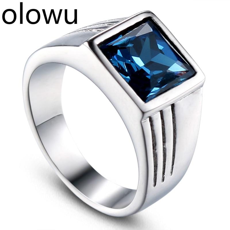 ¡Nuevo! olowu de moda de anillos de boda para hombre, anillo de acero inoxidable de Color plateado, anillo de regalo de piedra de estrás cristal azul