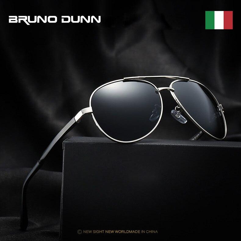 Bruno dunn 2020 aviação óculos de sol polarizados óculos de sol masculino aviador uv400 alta qualidade