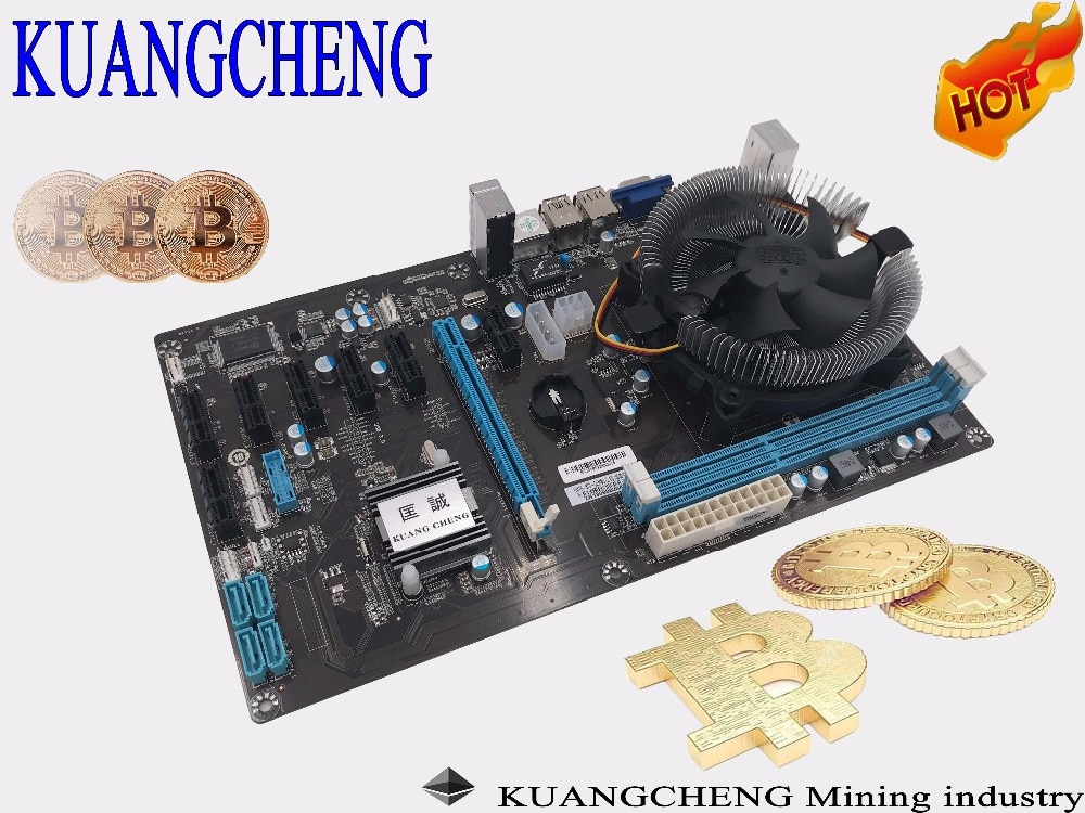 KAUNGCHENG Free shipping ETH ETC ZCASH (with i3 cpu)8 CARDS Motherboard HM76.65 BTC COMBO Support 8 graphics card for ETH miner