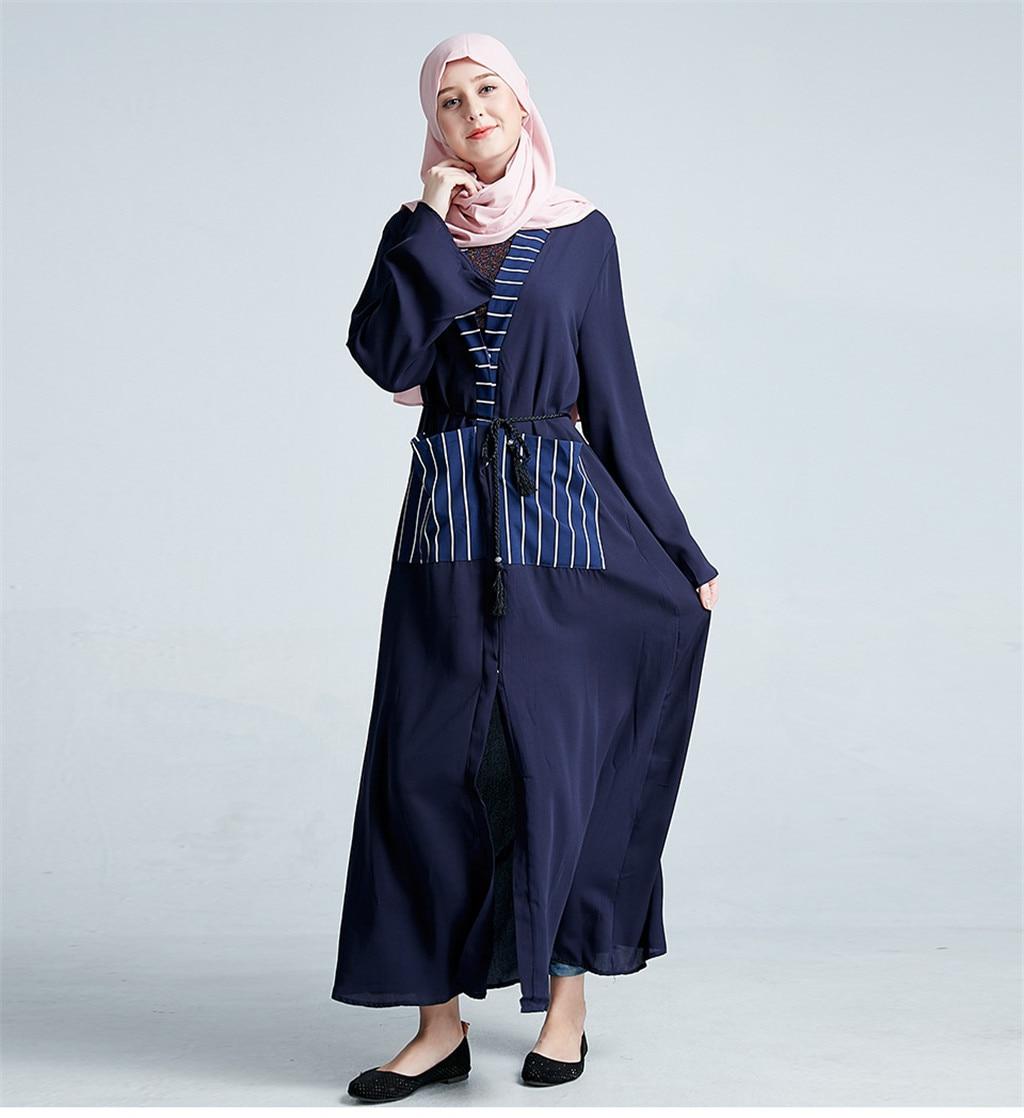 Vestido largo abaya vestido musulmán Casual mujeres musulmán Maxi vestido Abaya Jilbab islámico señoras larga noche Kaftan T411