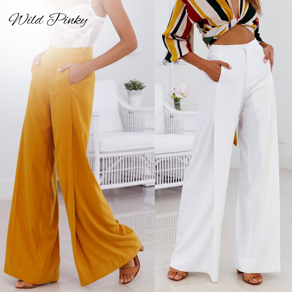 WildPinky Wide Flare Leg Pants Women High Waist Casual Solid Fashion Spring Summer 2020 Long Trousers Capris Female