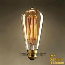 ST64 40 W/60 W tungstène 220-240V E27 antique edison ampoule/vintage edison ampoule décorer suspension ampoule