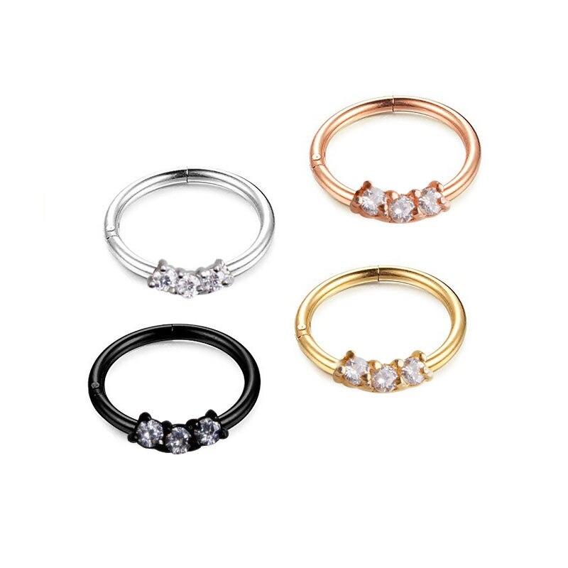 2018 Venta caliente 3 AAA CZ de alta calidad multifunción 316 de acero inoxidable pendientes de anillo de nariz para mujer