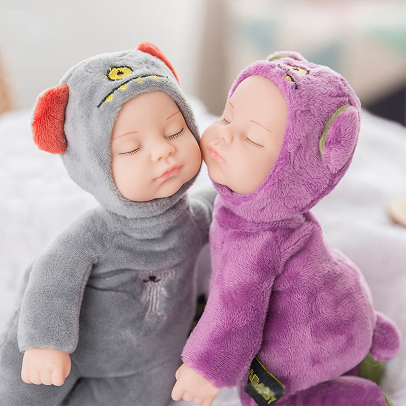25CM Mini Stuffed Born Doll Toys For Children Silicone Reborn Alive Babies Lifelike Kids Sleep Kid Toy