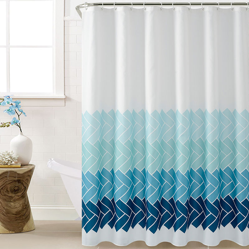 Nueva cortina de baño a rayas de tela de poliéster con ganchos, cortina de baño suave Simple, cortina impermeable antideslizante, accesorios de baño
