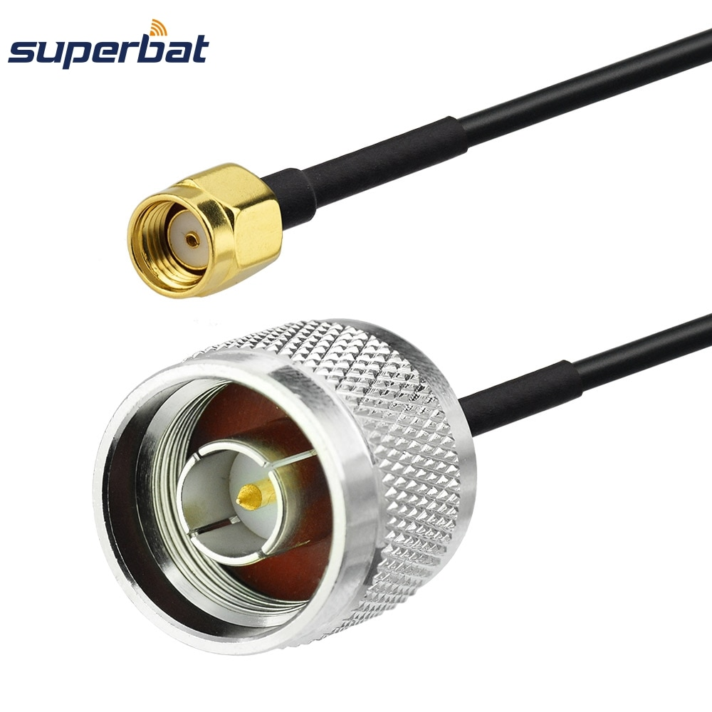 rg174 sma male plug to sma male plug rf jumper pigtail coax cable Superbat RP-SMA Plug to N type Male Plug Connector RG174 Coax RF Pigtail Extension Cable Jumper 40cm for Wifi Antenna