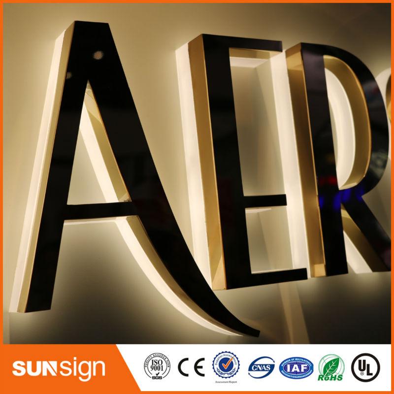 Wholesale advertising rose gold stainless steel LED backlit letter sign недорого