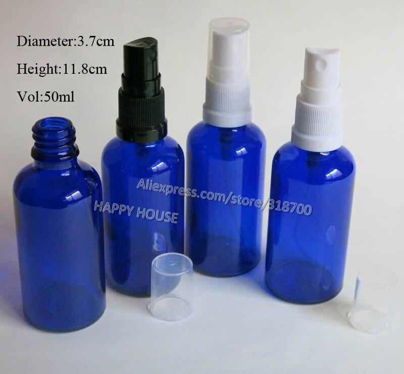 Botella de vidrio de cobalto al óleo azul de 360x50 ML, botella rociadora de vidrio de 50 cc, contenedor de vidrio de 50cc