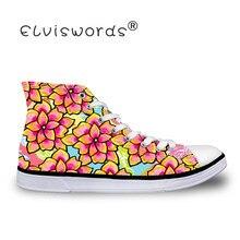 ELVISWORDS Schoenen Bloemen Printing Vrouw Canvas Zomer Vulcaniseer Sneakers Vrouwen Vrouwelijke Flats Dames Sho Ademend Walking Schoen