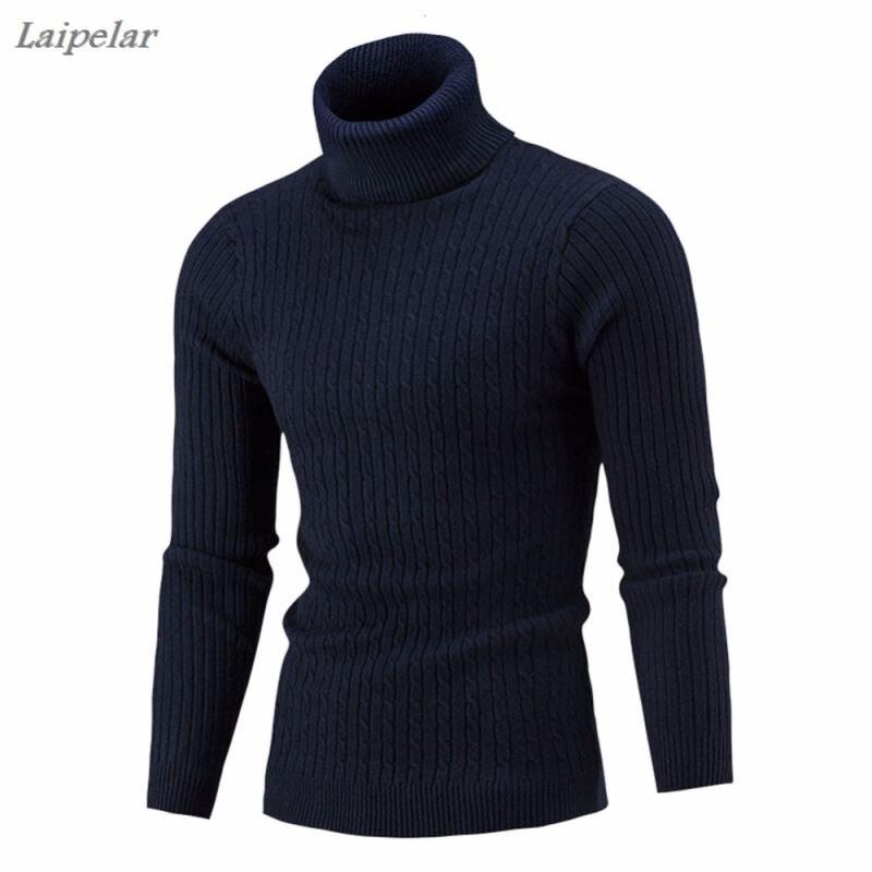Мужской свитер, мужской брендовый Повседневный однотонный вязаный простой свитер, мужской удобный свитер с высоким воротником