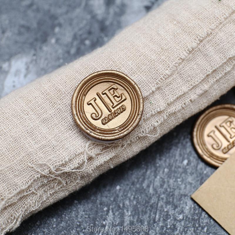 Autocollants de sceau de cire auto-adhésif   Initiales personnalisées avec date, tampon de cire, sceau denveloppe, sceaux RSVP, 23 couleurs disponibles