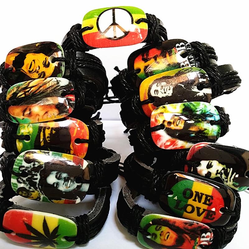 Brand New 24PCs Bob Marley Cuff Bracelets Jamaica Reggae Rasta pu Leather wristband Wholesale bulk Lots for men women unisex
