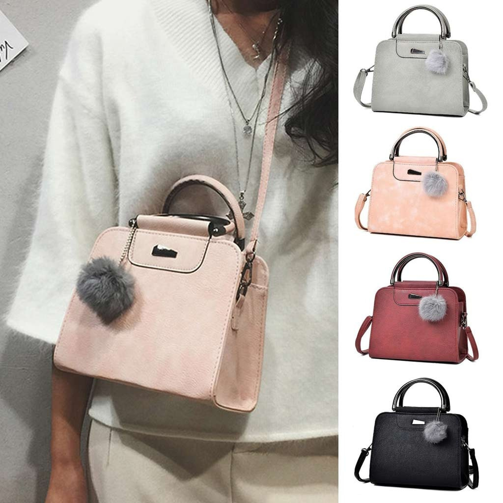 Woman Bag Fashion Solid HairBall Design Shoulder Messenger woman bag taschen women ladies bags borse da donna torebka damska