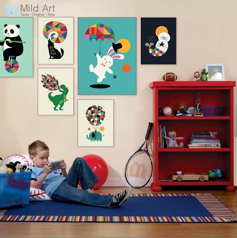 Póster divertido de circo, Animal Panda, dinosaurio, acrobacias, nórdico, para habitación de bebé, imágenes artísticas para pared, decoración del hogar, pintura en lienzo sin marco