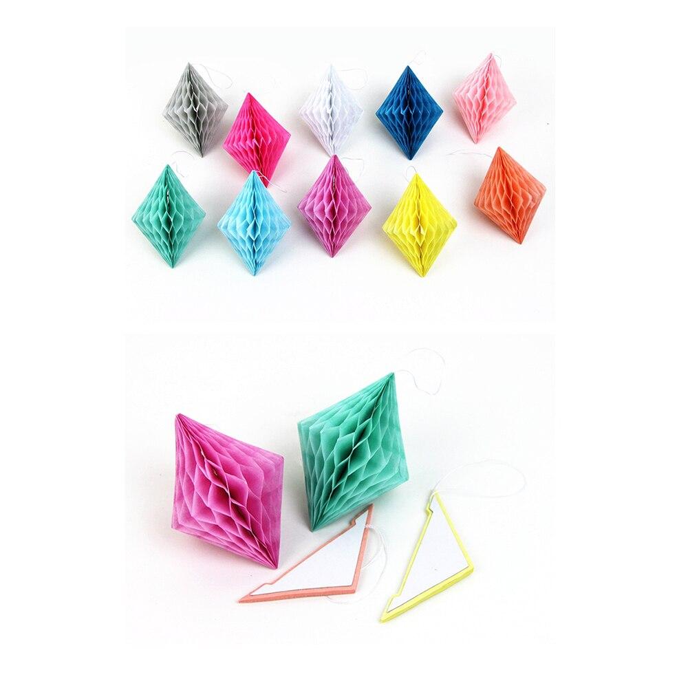 10 шт. смешанные цвета, соты, алмазные бумажные шарики, геометрические соты, драгоценные камни, подвесной декор для свадьбы, дня рождения, вечерние