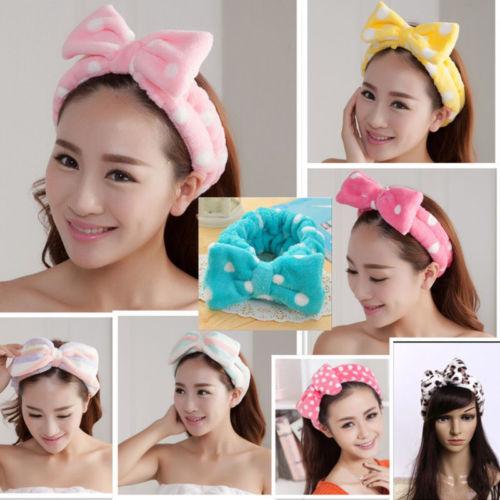 Encantadores sombreros de niña para mujer con lazo a rayas, banda para el pelo de ducha suave, diadema envolvente, maquillaje para baño Spa, tocados bonitos