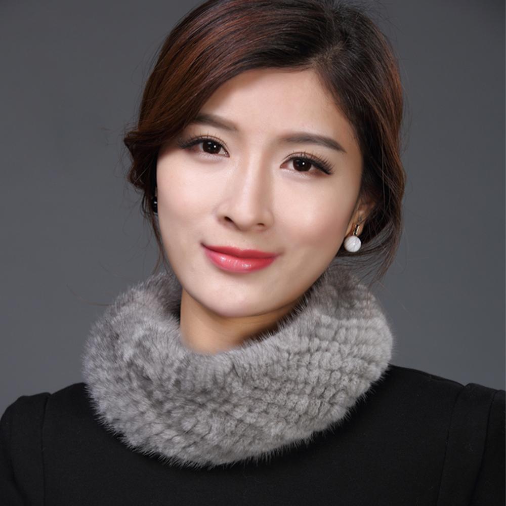 Bufanda IANLAN de doble uso para mujer, diadema de invierno de piel auténtica, bufanda tejida de piel de visón, bufanda elástica para mujer IL00042